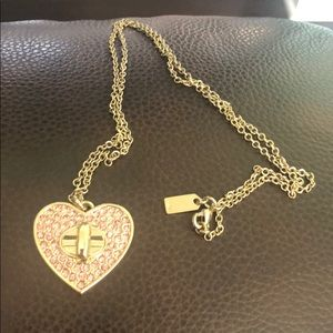 Coach pink crystal heart gold necklace